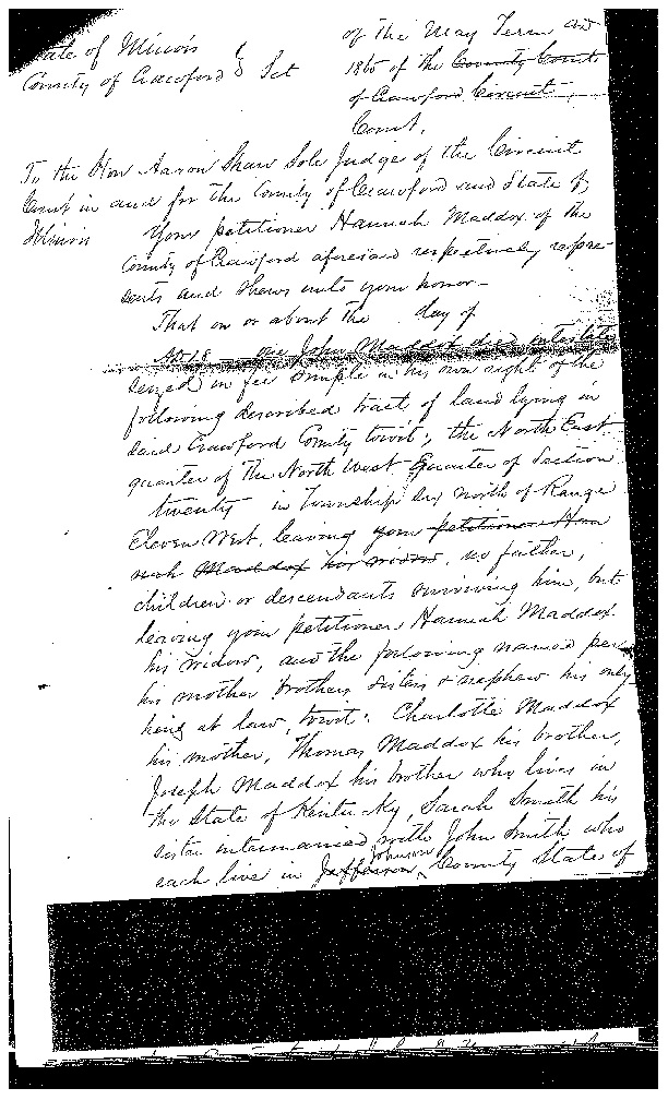 An 1865 Crawford County, Illinois, petition showing that Charlotte is Joseph's mother.