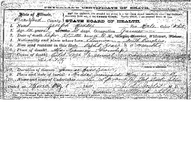Joseph Maddox's death certificate