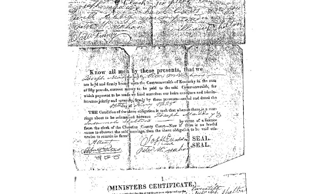 Marriage certificate of Joseph and Susannah Shelton, 1825.