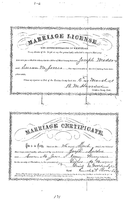 Marriage certificate Joseph and Susan Jones 1871