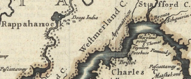 John Speed's 1676 map of Colonial Virginia and Maryland illustrates Native American tribes along the shores of the Potomac River, and just a few English settlements. Edward Maddox's plantations in Stafford County and Charles County were at the edge of